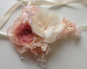 Bohemian Bridal Halo Silk Flower Hair Bouquet
