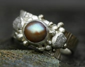 Raw Diamonds and Copper Pearl in Textured Sterling Silver Ring- Custom Made
