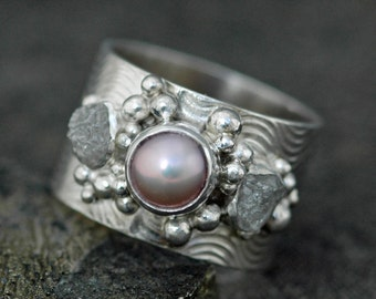 Raw Diamonds and Pink Pearl in Textured Sterling Silver Ring- Custom Made