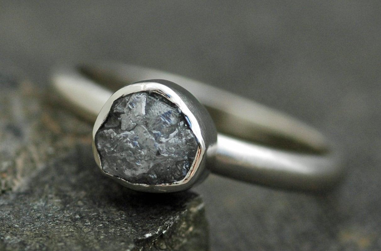 Bezel-Set Rough Large Silver Diamond Engagement Ring In 14k