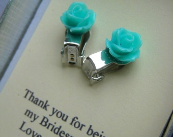 Clip on earring. Bridesmaids gifts, small sized rose stud earrings, personalized notecards, free jewelry box.