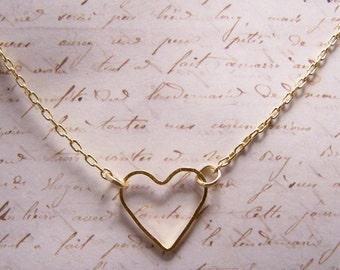Delicate Heart Necklace  Simple Minimalist ... Minimalist Jewelry. Bride. Bridesmaid. Bridal Party