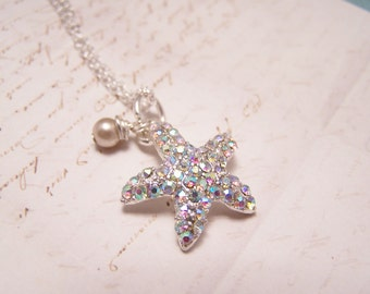 Sparkly Starfish Necklace. Ocean. Nautical. Seaside. Summertime