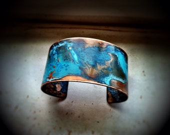 "The Original Patina Cuff ~ Blue Patina 1.25"" Copper Cuff"