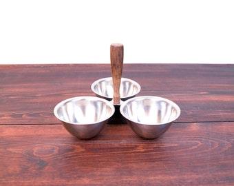 Vintage 3 Bowl Relish Server / Dansk Style Stainless Serving Bowls