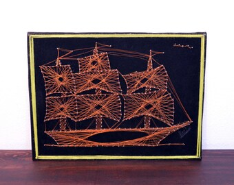 Vintage Copper Wire and Pin Ship Wall Art / Retro Nautical Art