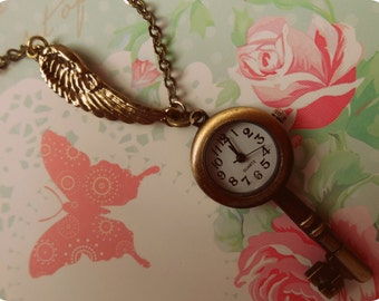 Antiqued Key Watch with Wing Necklace - Time Flies