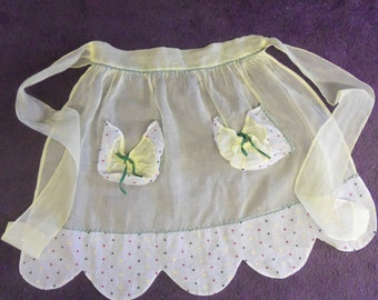 SALE - Vintage Sheer Yellow Lemon Meringue Apron With Poufy Polka Dot Pockets and Trim from Rustysecrets
