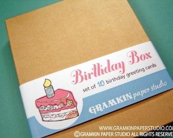 Birthday Box- Set of 10 Birthday Cards