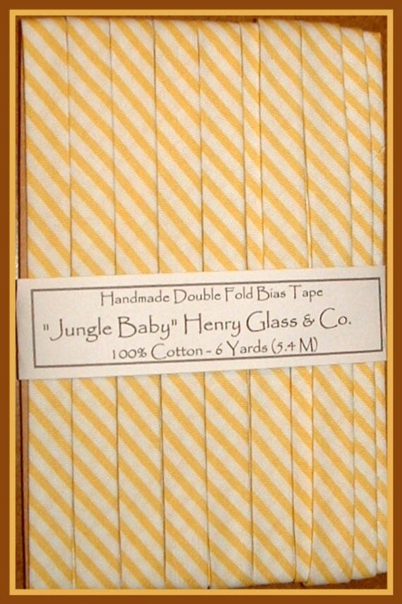Handmade Double Fold Bias Tape -Cheerful Yellow and White Stripe Jungle Baby from Henry Glass