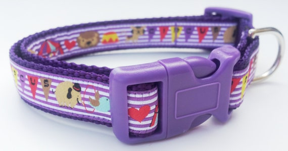 The Performer - Dog Collar / Handmade / Pet Accessories / Adjustable / Circus / Purple