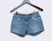 AG Gemini Faded Denim Upcycled Shorts Embellished Daisy Pockets Zip Fly Jeans Faded Blue Low Rise W 29 Shorties