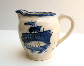 Hand Painted Delft Blue Pitcher Creamer Ocean Ship