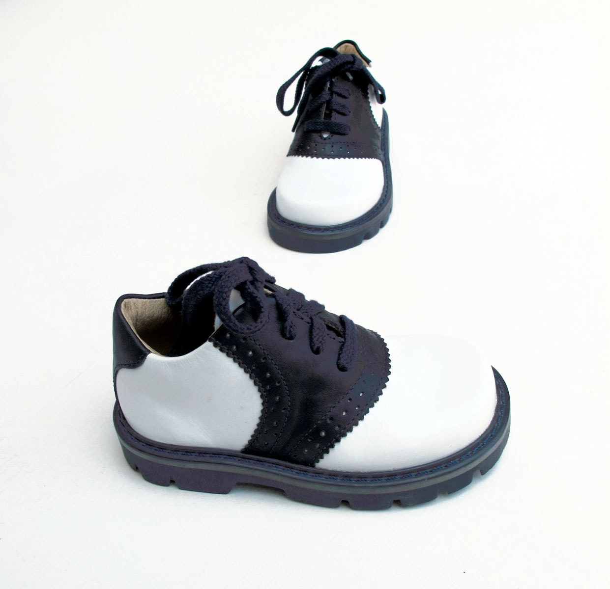 Navy Leather Saddle Shoes Toddler Eur