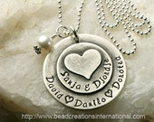 Custom Listing for A Morse - Hand Stamped Mommy Necklace - Sterling Silver Necklace with 5 Names w/ Heart Stacked on Top
