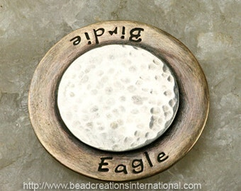 Hand Stamped Golf Ball Marker Eagle Birdie with Initials on the Backside in Sterling Silver and Brass