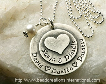 Hand Stamped Mommy Necklace - Sterling Silver Necklace with 5 Names w/ Heart Stacked on Top