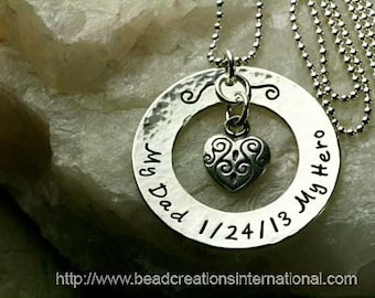 My Dad My Hero with Date Loss Hand Stamped Necklace
