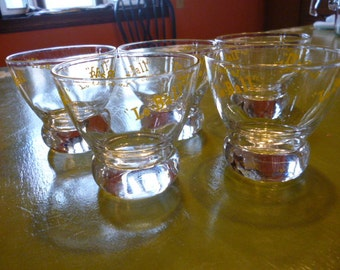 Set of 5 Eva Zeisel Federal Glass Lowball Glasses, 6 oz., Lo-Ball, Mad Men Style