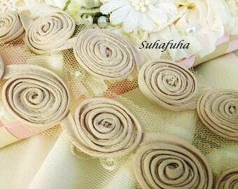 MOCHA Chiffon Rolled Flower Trim