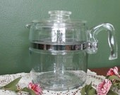Pyrex Glass Percolator Flame Ware 6 Cup Coffee Pot Complete with Glass stem and Basket