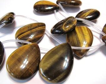 Tiger eye gemstone large tear drop pendant beads 2 pieces