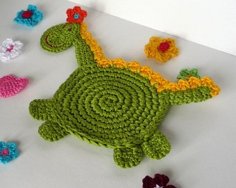 Crochet Coaster Pattern - Dragon Pattern - Crochet Dragon Pattern - Crochet Dragon Coaster - Dragon Tutorial - Home Decor - Kids Room Decor
