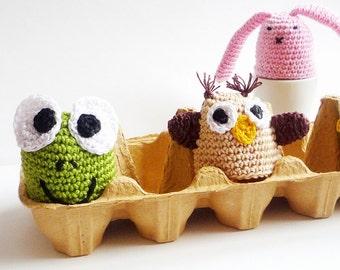 Crochet Owl Egg Cozy, Egg warmers- Set of 2