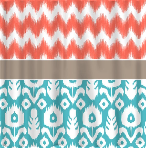 custom ikat chevron shower curtain any color shown coral chev ikat