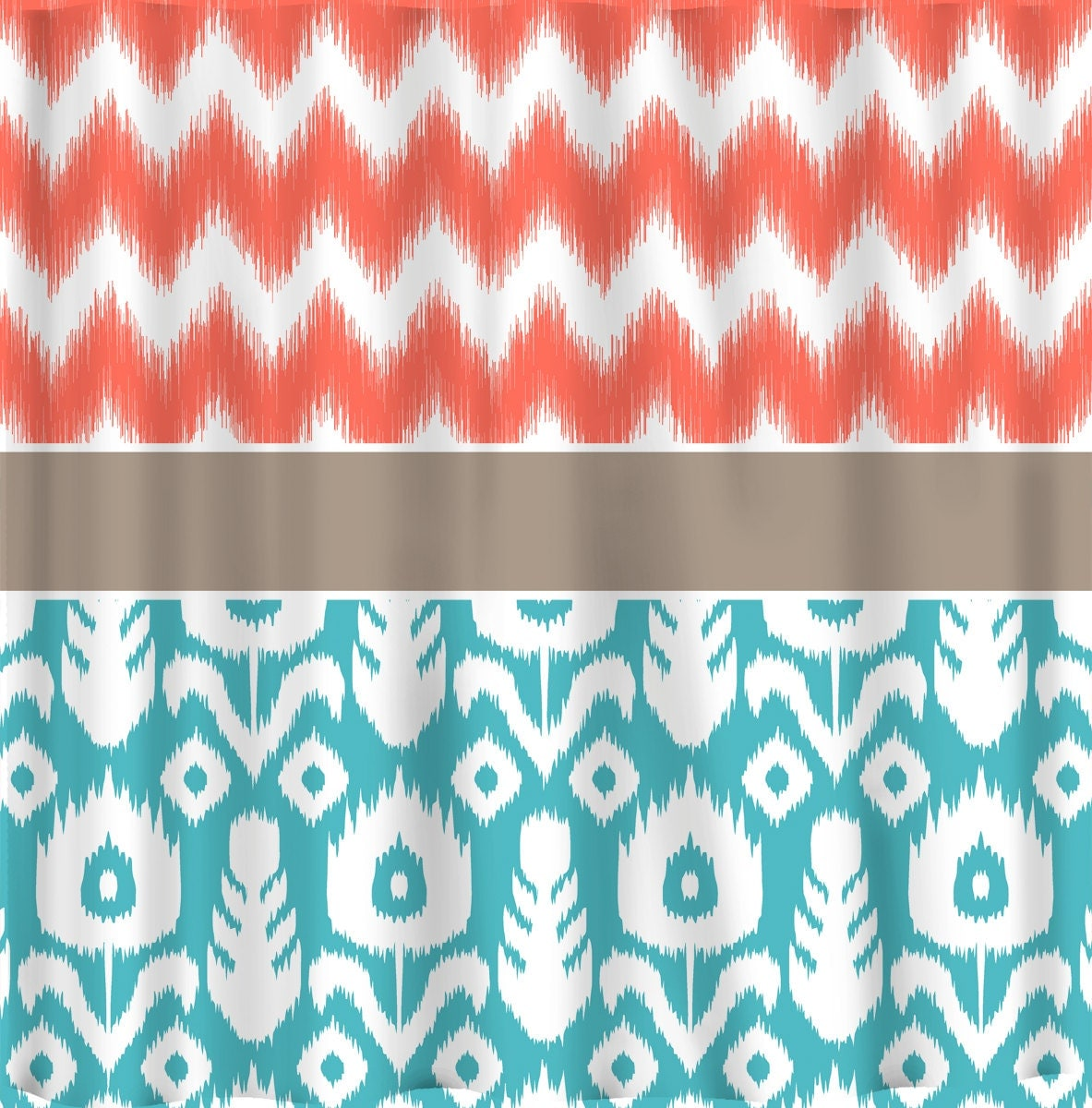 Coral And Teal Shower Curtain Green and Turquoise Curt