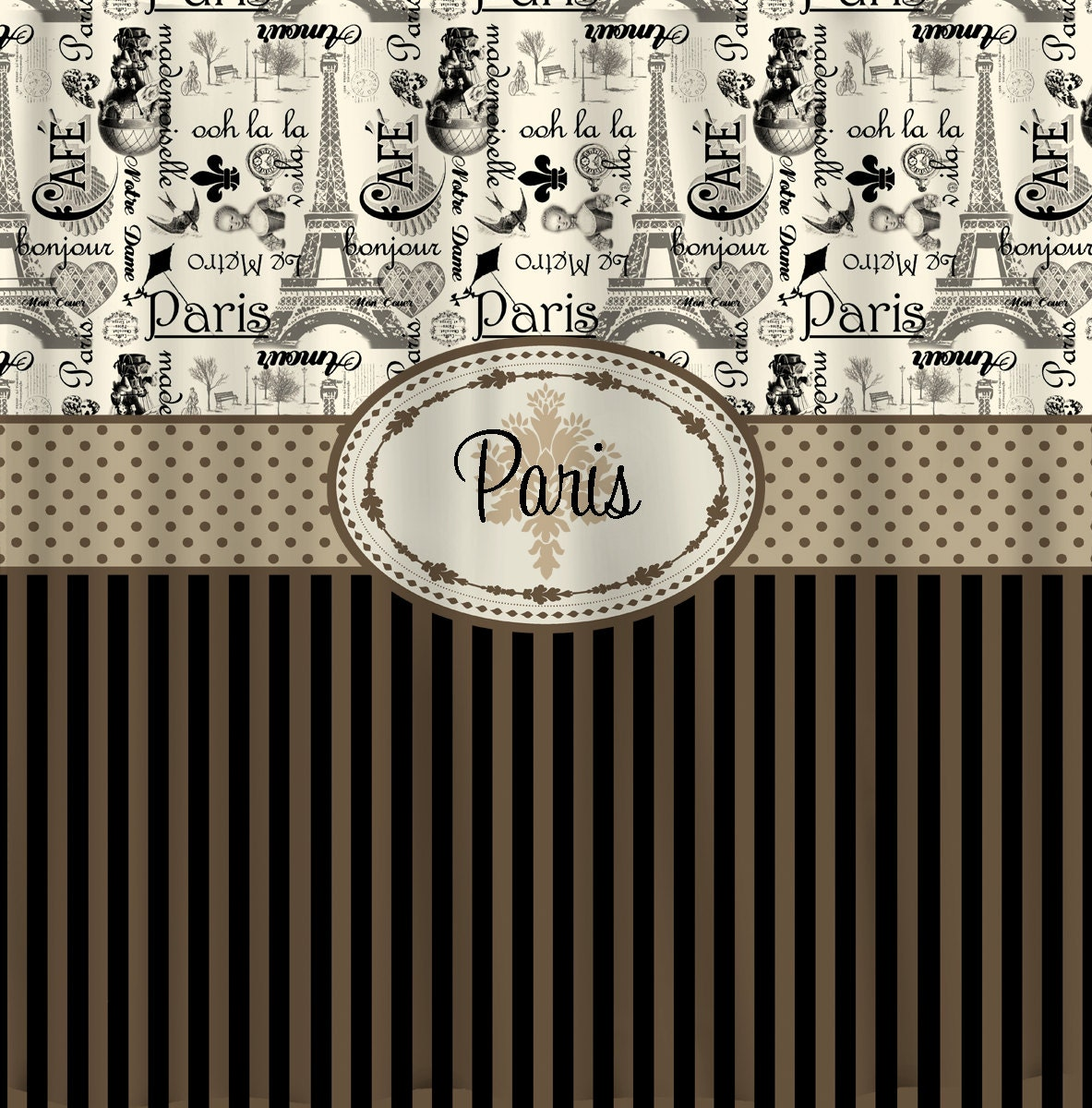 Personalized Vintage Paris And Stripe Shower Curtain By