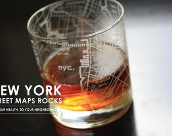 NYC Maps Rocks Glass, set of 4