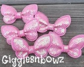 New to Shop 2 inch SEQUIN BUTTERFLY Appliques-Set of 5 Candy Pink