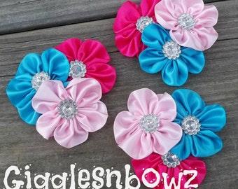 3 Satin Ribbon Flowers- Satin Cluster Flower- Fabric Flowers- Headband Flowers- DIY Craft Supplies Turquoise/Pink/ Shocking Pink-2.5 inch