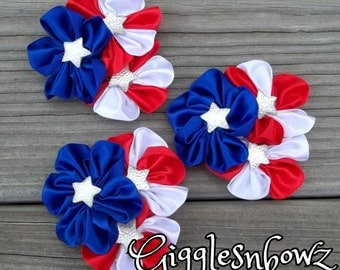 Stars and Stripes Satin Ribbon Flowers- 4th of July Flowers- 3 pc Satin Cluster Flowers- USA Red White and Blue- 2.5-3 inch- diy supplies