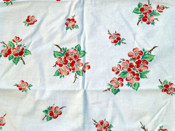 Vintage Print Tablecloth Apple Blossom Fabric By