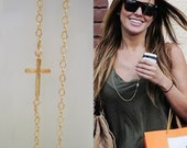 Sideways Cross Necklace, Long Layering Necklace, Layering Jewelry, Celebrity Inspired Jewelry