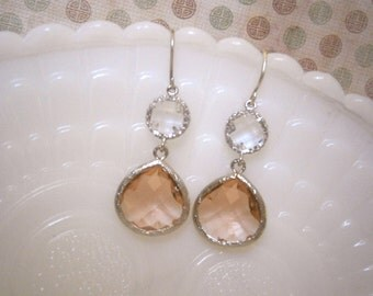 Clearance Sale, Blush Earrings, Crystal Earrings, Blush Champagne, Blush Wedding, Bridesmaid Gift, Best Friend Birtthday, Gifts for Her
