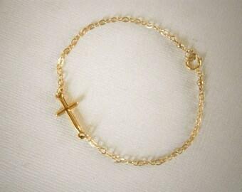 Sideways Cross Bracelet, Gold Cross Bracelet, Celebrity Inspired Jewelry, Gold Bracelet