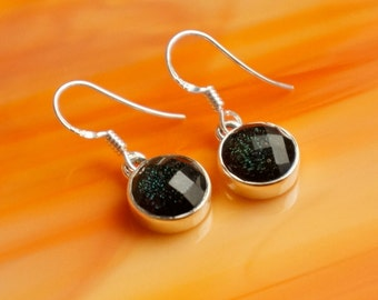 SALE Handmade Dichroic Glass Earrings Sterling Silver .925