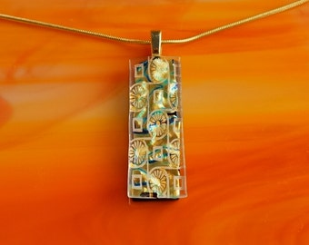 Handmade Dichroic Fused Glass Gold Pendant Necklace ...with chain...