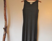 1990s Black and White Striped Dress