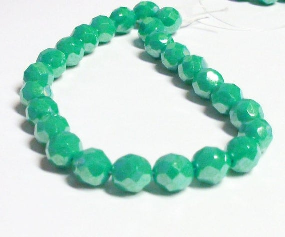 Czech Fire-Polished Glass Faceted Round - 8mm - Opaque Turquoise Luster - 20 Beads