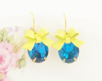 Cobalt and Yellow Blue Bow Earrings - Vintage Cobalt Glass Rhinestone and Yellow Bow Dangle - Wedding, Bridal, Bridesmaid, Preppy