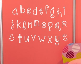 Alphabet Wall Decal Set - Childrens Wall Decal - Nursery Playroom Vinyl Decal Set