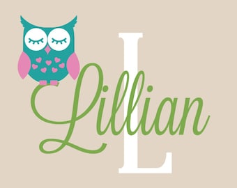 Owl Wall Decals, Custom Name Decals, Children Owl Decal, Personalized Name, Owl Wall Stickers
