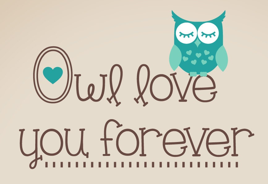 Wall Decal Owl Love you Forever Set Owl Wall Decals