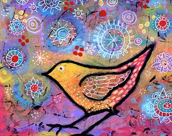 "Colorful Bird Canvas Print 8"" x 8"" - Secret Garden Bird Art Print by Lindy Gaskill"