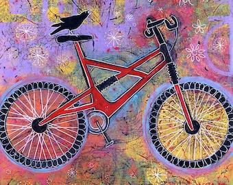Colorful Raven Bike Gallery Wrap Canvas Print - Pure Delight