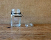 old glass canning jar, glass lid, metal bail, Hazel Atlas l collectible l storage bottle